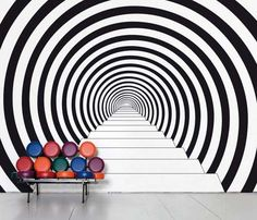 Buy online Down the rabbit hole By moustache, optical non-woven paper wallpaper, domestic Collection Graphic Wallpaper, Striped Wallpaper, Fabric Wallpaper, Wallpaper Ideas, Windows Wallpaper, Wallpaper Designs, Wallpaper Backgrounds, Geometric Wallpaper, Print Wallpaper