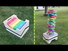 Check out this big 'ol giant Jenga set I made from 2x4 blocks. It's a super simple woodworking project that anyone can make for some summer fun. DIY Giant Je...