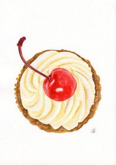 Cherry Cupcake - ORIGINAL watercolour painting (Food Watercolors Wall Art) A5