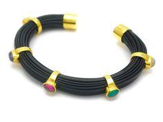 Elephant hair bracelet, gilt sterling silver, colour stones
