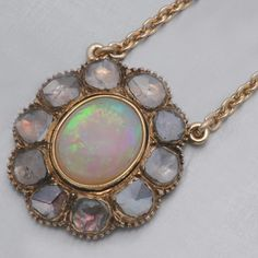 Antique Georgian Necklace Opal Rose-cut Diamonds