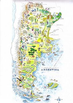 Ilustración del Mapa turístico de Argentina (Dibujo) por Mario Luis Rivero Argentina Map, Argentina Travel, Vietnam Travel, Thailand Travel, Croatia Travel, Bangkok Thailand, Hawaii Travel, Tourist Map, South America Travel