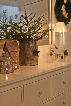 Christmas Decorations - VIBEKE DESIGN: Small rusty tin houses, tree in an old crock. Primitive Christmas, Noel Christmas, Scandinavian Christmas, Country Christmas, Christmas Crafts, Primitive Ornaments, Primitive Stitchery, Cowboy Christmas, Primitive Patterns
