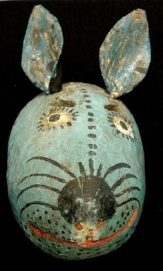 Guatemalan rabbit mask by Casa de Artes. Rabbit Art, Jack Rabbit, Art Premier, Animal Masks, Masks Art, Arte Popular, Indigenous Art, Tribal Art, Traditional Art