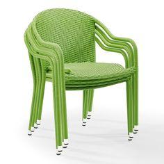 Palm Harbor Outdoor Wicker Stackable Chair 4-piece Set, Green