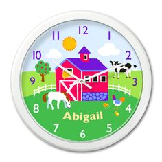 Kids personalized farm clock by Olive Kids!
