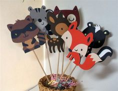 Woodland, Forest Centerpiece, Party supplies, Table Decorations, set of 6 Large Animal Decorations, die cuts