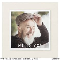 birthday custom photo hello 80 for guys napkin 90th Birthday Parties, Birthday Fun, Birthday Party Invitations, Invites, Wedding Invitations, Adult Party Themes, Personalized Note Cards, Ecru Color, Party Photos