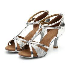 Women Silver Ballroom Latin Dance Shoes Tango Samba Salsa Dancing Heels  Sandals fa832384dbe4