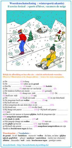 Woordenschatoefening : wintersport(vakantie) / Exercice lexical : sports d'hiver, vacances de neige + OPLOSSINGEN / SOLUTIONS : http://docnederlands.skynetblogs.be/archive/2016/01/11/exercice-de-vocabulaire-wintersport-vakantie-woordenschatoef-8553862.html