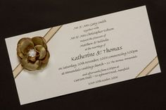 Wild Rose with Angled Ribbon Wedding Invitation www.kardella.com