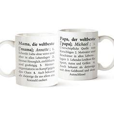 2er Tassen Set - Tasse Definition Mama und Papa - Tasse mit Spruch - Personalisiert mit Namen - Tasse Papa ist der Beste - Tasse Mama ist die Beste - Vatertag - Geschenk - Männertag