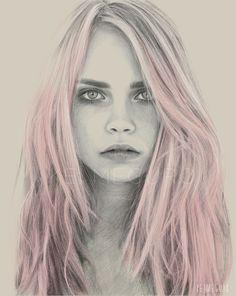 Illustration pink hair