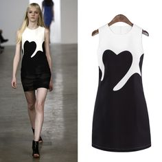 Summer New Women's Black And White Stitching Vest Dress Fashion Short Skirt