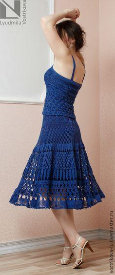 """Купить Вязаная юбка крючком """"Ночное небо"""" - тёмно-синий, в полоску, вязаная юбка"""