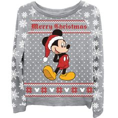 Mickey Mouse Women's Ugly Christmas Sweater | T-Shirt Mall ($18) ❤ liked on Polyvore featuring tops, mickey mouse top and christmas tops