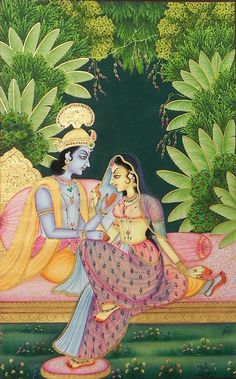 The Secret Rendezvous of Radha Krishna. Miniature Painting from Rajasthan, India
