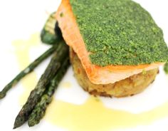 deWintons - Herb Crusted Fillet of Scottish Salmon, Crushed New Potatoes, Grilled Courgettes & Asparagus