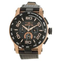 Invicta 15904 Men's S1 Rally Carbon Fiber Black Dial Rose Gold Steel Black Rubber Strap Chronograph Watch,
