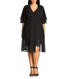 A wardrobe not-so-secret weapon, every woman needs a go-to little black dress in her closet. With a lace pencil skirt and a floaty, sheer chiffon overlay, this one is anything but basic.