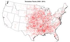 Based on tornado tracks over the last 61 years, there is no longer much of a delineation between the traditional Tornado Alley (the Great Plains into ...