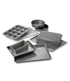 8 Piece Gray Farberware 47765 Includes Nonstick Cookie Sheets//Baking Cake Muffin and Bread Pan