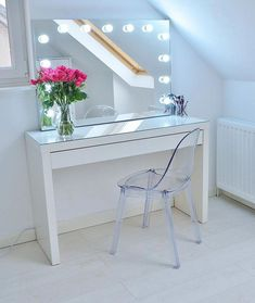 Absolutely love my new Ikea makeup vanity - no idea how I managed to live without it! It's an - Ikea Malm dressing table, with an acrylic ghost chair and makeup vanity with lights! Ikea Makeup Storage, Ikea Makeup Vanity, Makeup Organization, Makeup Vanities, Makeup Table Ikea, Ikea Vanity Table, White Makeup Vanity, Ikea Bedroom Storage, Makeup Tables