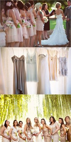 mismatched bridesmaids dresses these are good ideas. it can still look elegant and planned without all the dresses needing to be the same one. different designs would give the rustic feel and the shades of color would look very nice @Regan Fred