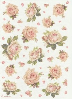 Rice Paper for Decoupage, Scrapbooking Sheets /Craft Paper Texture with Roses
