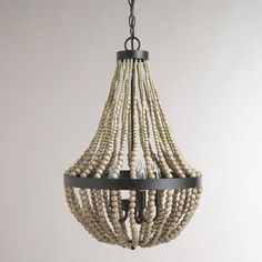 Small Wood Bead Chandelier $200