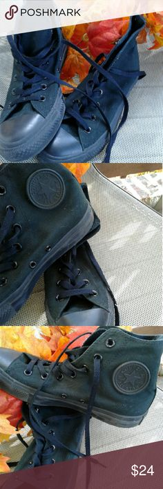 Black on Black Allstar highs Like new sneakers  great condition.  Wipe them off and go!!!! Converse Shoes Sneakers