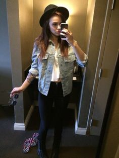 9d9aa529ac Acacia Brinley wore a Brandy Melville denim jacket and tank. Shop it  http
