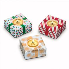 Deck the Halls Stacking Tealight Trio
