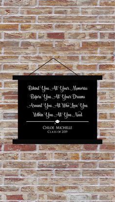 Excited to share the latest addition to my shop: Within You All YOu Need Class of 2019 Senior 2019 Name Hanging Canvas Print Graduation Party Decor