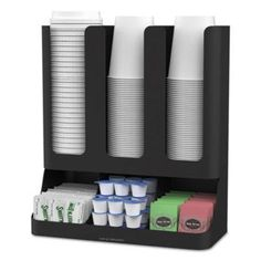 Mind Reader Flume' 6 Compartment Upright Coffee Condiment And Cups Organizer