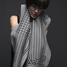 Geometric-patterned scarves and throws by two Montreal textile designers