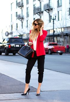 A pop of color blzer+ tapered cropped, cute. From what-do-i-wear.com
