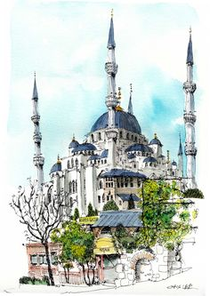 Blue Mosque, Istanbul, by Chris Lee Watercolor Trees, Watercolor Background, Watercolor Landscape, Watercolor Paintings, Watercolor Animals, Watercolor Techniques, Abstract Watercolor, Sketch Painting, Watercolor Sketch