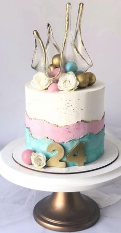 47 Cute Birthday Cakes For All Ages : Three tone birthday cake