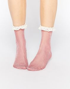 Image 1 of ASOS Lace Trim Ankle Socks