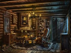 Hunter's House by abzac666. DeviantART   Interior for the game's description. Used photos and textures. PhotoShop CS5 Wacom ~14h