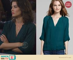 Robin's teal green pleated blouse on How I Met Your Mother. Outfit Details: http://wornontv.net/23598 #HowIMetYourMother #HIMYM