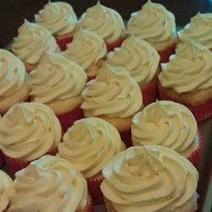 Cool Whip and Pudding Frosting. Absolutely amazing! Tastes just like the whipped icing that is on grocery store cakes. Super light and fluffy and you can make a nice big swirl on top of your cupcakes with this. This will be my go-to icing for cakes and cupcakes now!