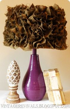 Need to go goodwill shopping to find a lamp to make perty like this one! LOVE the burlap lampshade!