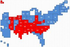 Perspective. Original Pinner said: The map we're used to seeing exaggerates the size of the Republican vote, since there are a lot of red states that are large in area but small in population. In this cartogram, where 1 square = 1 electoral vote, Obama's mandate becomes easier to see. ~ Wow, this is awesome! I just love those number crunchers. You can't argue with arithmetic! :)