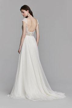 Jim Hjelm 8707 available at Bucci's Bridal in Pewaukee, WI   www.buccisbridal.com #jimhjelm #bridalgown #weddingdress #bridalshop #marriedinmke #marriedinmilwaukee #wibride #wisconsinbride #Aline #tulle #lace #openback #bride