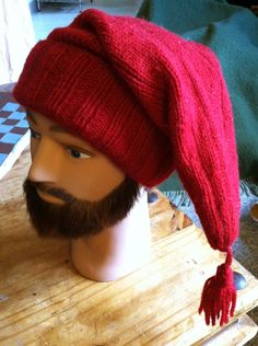 Handmade Knitted Voyager Hat Red French Mountain Man