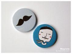OHLALA Monsieur und ein Schnurrbart, Magnete Set von maedchenwahn auf DaWanda.com