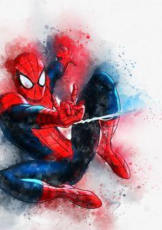 Spiderman watercolour print, marvel character,marvel poster, poster of spiderman, spiderman wall ar Spiderman Wall Art, Spiderman Images, Spiderman Poster, Superhero Poster, Amazing Spiderman, Spiderman Spiderman, Avengers Painting, Avengers Art, Marvel Art