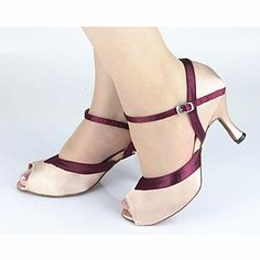 Latin Customizable Women's Sandals Customizable Heel Satin Buckie Dance Shoes(More Colors) - USD $ 27.89